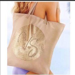 Victoria's Secret Bag Tan Gold Bling Canvas Tote